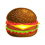 Tasty burger grilled beef and fresh vegetables dressed with sauce in bun for snack or lunch, hamburger classical Royalty Free Stock Photography