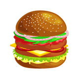 Tasty burger grilled beef and fresh vegetables dressed with sauce in bun for snack or lunch, hamburger classical Stock Photo
