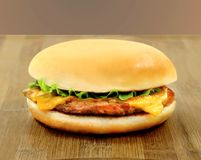 Tasty Burger with meat and cheese Royalty Free Stock Photos