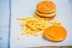 Tasty burger and a sandwich with french fries on a piece of paper Royalty Free Stock Photo