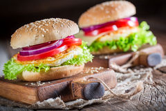 Tasty burger with vegetables and fried egg Stock Photo