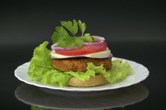 Homemade hamburger with fresh vegetables, cheese and chicken cutlet. Royalty Free Stock Photos