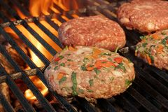Tasty Burgers On The Barbecue Grill. Summer Party Image. Stock Photos