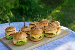 Tasty burgers with cheese, lettuce, onion and tomatoes served outdoor on a wooden table. royalty free stock photography