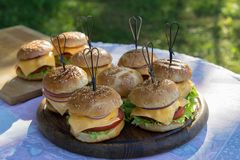 Tasty burgers with cheese, lettuce, onion and tomatoes served outdoor on a wooden table stock photography