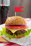 Tasty burgers with flags Stock Photo