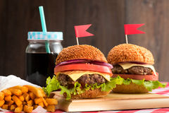Tasty burgers with flags Stock Image