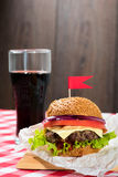 Tasty burgers with flags Royalty Free Stock Photo