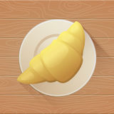 Tasty buttery croissant on plate and old wooden table. Vector flat illustration. Vector flat illustration. Tasty buttery croissant on plate and old wooden table Royalty Free Stock Image
