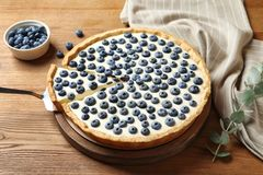 Tasty cake with blueberry stock image