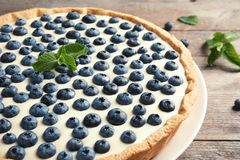 Tasty cake with blueberry stock images