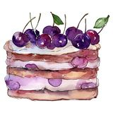 Tasty cake with cherry in a watercolor style isolated. Aquarelle sweet dessert. Background illustration set. stock illustration