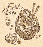 Dolce Vita. Chocolate dessert. Royalty Free Stock Photography