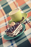 Tasty cake and cup of cappuccino Royalty Free Stock Photo
