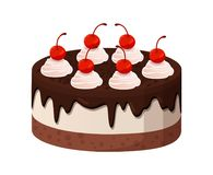 Tasty Cake with Dark Chocolate and Cherries on Top. Tasty cake made of tender cream with liquid dark chocolate and sweet cherries on top isolated cartoon flat Royalty Free Stock Photography