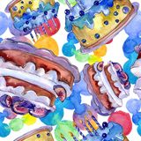 Tasty cake with fruits in a watercolor style isolated. Sweet dessert illustration. Seamless background pattern. royalty free illustration