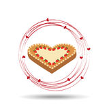 Tasty cake heart with strawberry cream Royalty Free Stock Image
