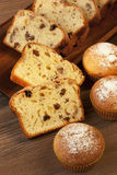 Tasty cake with raisins and walnuts Royalty Free Stock Photography