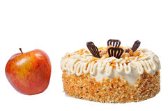 Tasty cake with red apple Stock Photography