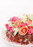 Tasty cake with roses Stock Photos