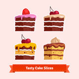 Tasty cake slices. Flat style illustration. EPS 10 vector Royalty Free Stock Image