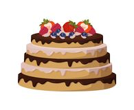 Tasty Cake with Sweet Liquid Glaze Between Corns. Tasty cake with sweet glaze between soft biscuit corns decorated with ripe strawberries, sour blackberries and Stock Images