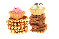 Tasty cake and waffles Royalty Free Stock Photography