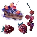Tasty cake in a watercolor style. Background illustration set. Watercolour drawing fashion aquarelle isolated. stock illustration
