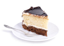 Tasty cake on a white plate over white Stock Photo