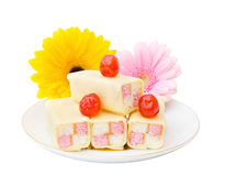 Tasty cakes with flowers Stock Photo