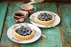 Tasty Cakes With Fresh Wild Blackberries And Icing Sugar With Tw Stock Images