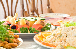 Tasty Canape. Banquet in the restaurant Stock Images