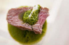 Tasty canape with lamb and mint Royalty Free Stock Image