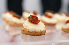 Tasty canape with tomato Royalty Free Stock Images