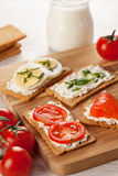 Tasty canapes breakfast snack meal Stock Photo