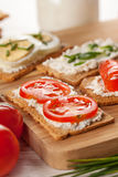 Tasty canapes breakfast snack meal Stock Photos
