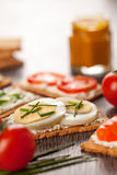 Tasty canapes breakfast snack meal Royalty Free Stock Image