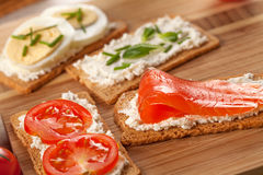 Tasty canapes breakfast snack meal Stock Image