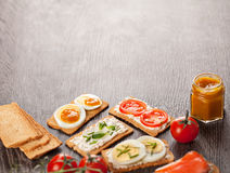 Tasty canapes food border background Stock Photography