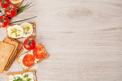 Tasty canapes food border background Royalty Free Stock Photos