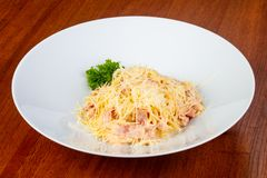 Tasty carbonara pasta. With ham and cheese Royalty Free Stock Images