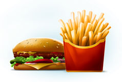 Tasty cartoon burger with sesame seeds with fresh french fries in red box Stock Image