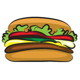 Tasty Cartoon Hamburger Royalty Free Stock Photos