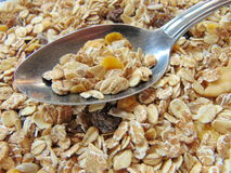Tasty cereals or muesli for breakfast. With spoon Stock Image