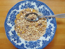 Tasty cereals or muesli for breakfast. With spoon Royalty Free Stock Photography