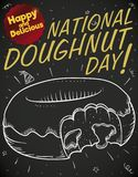 Tasty Chalk Drawing for National Doughnut Day Celebration, Vector Illustration. Blackboard with delicious chalk drawing of a half bitten donut with cream in its royalty free illustration
