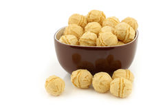 Tasty cheese balls in a brown bowl Stock Image