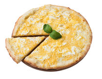 Tasty cheese pizza with slice isolated. On white stock image