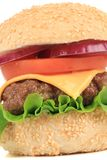 Tasty cheeseburger close-up. Royalty Free Stock Photos
