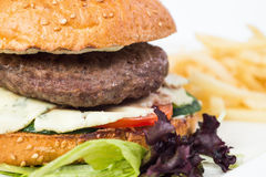 Tasty cheeseburger with fried potatoes,  Royalty Free Stock Images